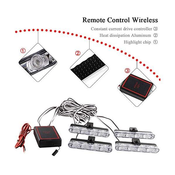 4x4 LED luz de advertencia estroboscópica DC12V intermitente de emergencia lámpara de baliza remoto inalámbrico advertencia estroboscópica luz externa de emergencia para camión caravana Camper 3