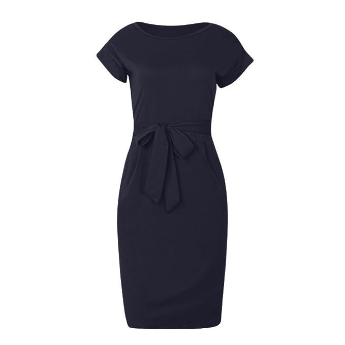 Vestiti Lungo Donna Elegante LandFox Sexy Mini Abito da Sera per Donna con  Maniche Corte e 0779a42d25a