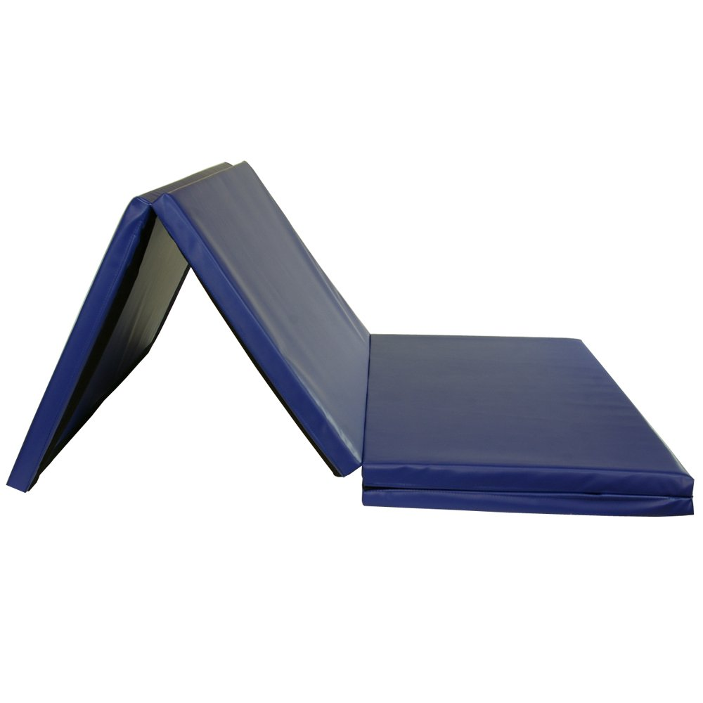 Greatmats Gym Folding Mat Exercise Cheerleading Tumbling 1.5 Inches Thick 4 x 8 Ft (Blue)