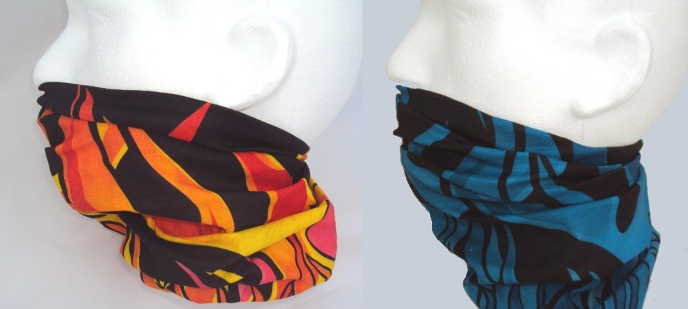 Winter neck warmer twin pack - flame pattern on black background Warm Neck Company