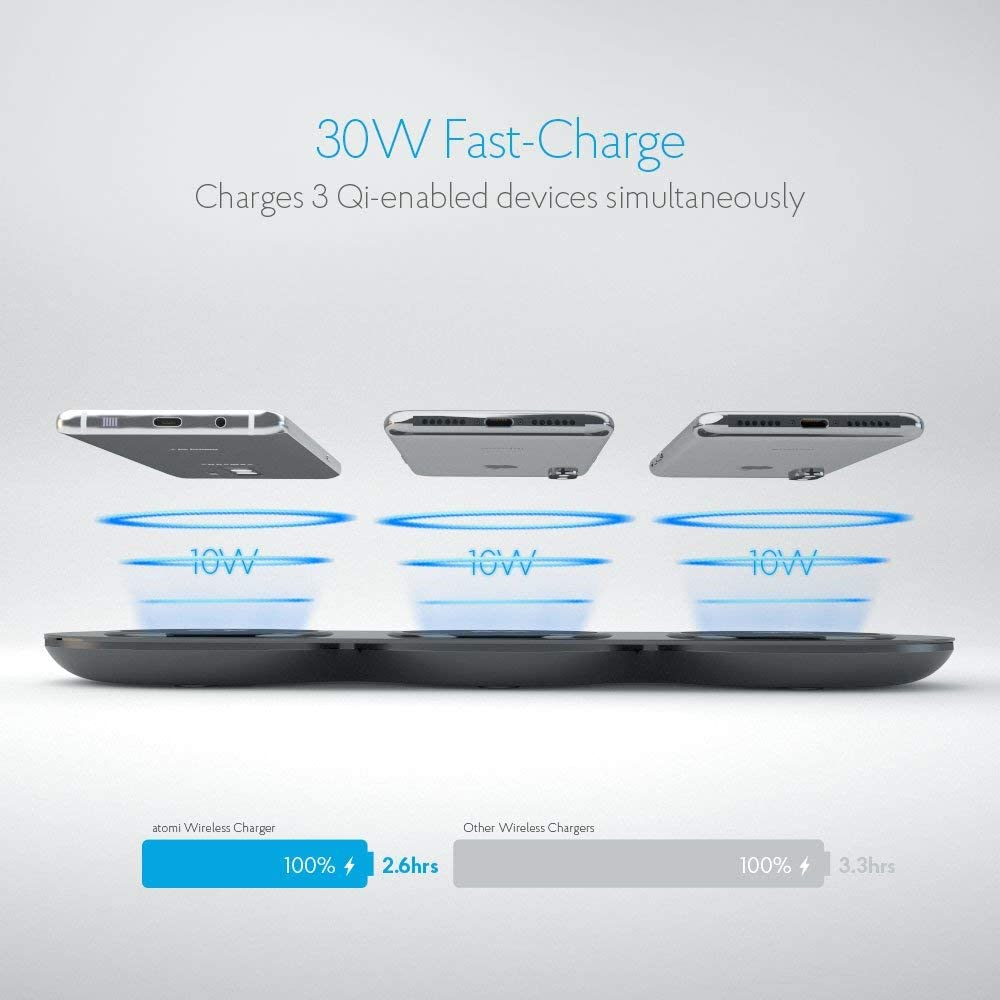 Samsung Galaxy Note 8 // S8 // S8+ and all Qi-enabled devices 3-Hub 30W Qi Wireless Technology for Apple iPhone X // iPhone 8 // 8 Plus Atomi Wireless Charging Pad