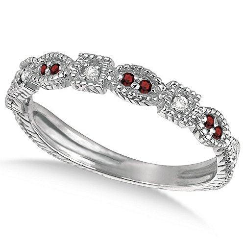 0.15ct Womens Unique Round Red Garnet Gemstone and Diamond Vintage Stackable Ring 14k White Gold ()