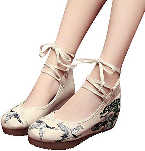 Satuki Broderade Skor För Kvinnor, Kinesisk Stil Handgjorda Tillfällig Dagdrivaren Blommor Mid Häl Promenadskor Beige