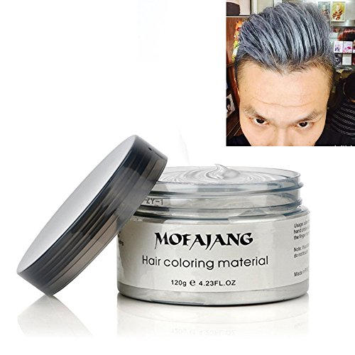 Mofajang Hair Color Wax,INST Temporary Hair Dye,Hair Coloring Wax,Washable Temporary, Natural Hairstyle Color Wax for Party,Halloween,Cosplay(Silver Grey) for $<!--$10.99-->