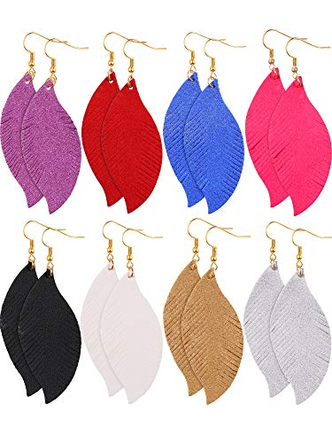 Blulu 8 Pairs Teardrop Earrings Bohemia Earrings Dangle Earring Faux Leather Earrings Feather Shape Earrings Glitter Earrings for Women Girls (Style Set 1)