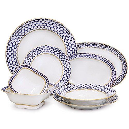 Imperial / Lomonosov Porcelain 'Cobalt Net' Dinner Set 24 pc. for 6 persons by Imperial Porcelain Factory