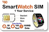 SpeedTalk Mobile Smart Watch SIM Card - Compatible with 2G 3G 4G LTE GSM Smartwatches and Wearables - 1 Year Service - USA Canada & Mexico Roaming