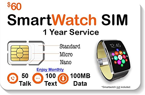 SpeedTalk Mobile Smart Watch SIM Card - Compatible with 2G 3G 4G LTE GSM Smartwatches and Wearables - 1 Year Service - USA Canada & Mexico - Sim Cards