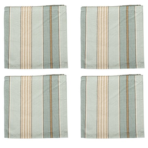 Sweetwater Aqua Stripe 18 x 18 All Cotton Napkin Pack of 4 (Sweetwater Wash)
