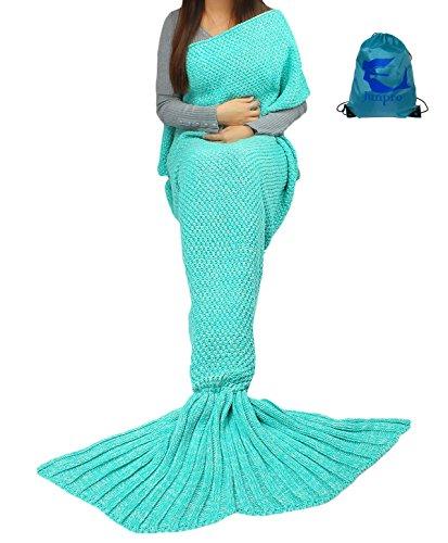 [Junpro Mermaid Tail Blanket for Adult Kids Soft HandCrochet Sleeping Bag for Girls Women in Sofa Bed Living Room (Adult, Plain-] (Womens Costume Ideas Cheap)