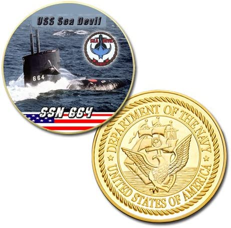 USS Sea Devil SSN-664 Ball Cap Embroidered Submarine Silver Dolphins Veteran Navy Hat
