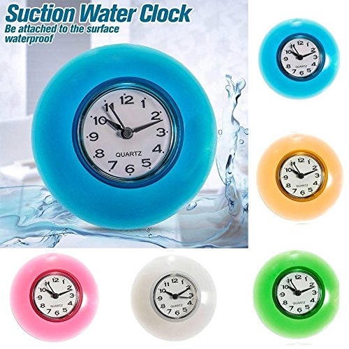 Hiquty Bathroom Waterproof Wall Clock Resistant Timer Suction Cup ( Red (Karaoke Midi Files)
