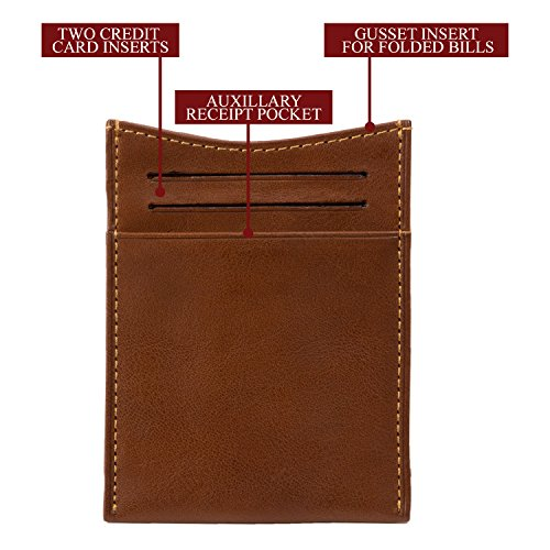 Money Leather Cow with Perotti Credit Italian Tony Wallet Slots Mens Card Cognac Spring Tension Clip twIBv0q