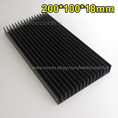 FidgetGear 200x100x18mm Black Anodized Aluminum Heatsink Cooler for Cooler LED