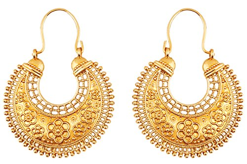 Touchstone Indian Bollywood Pretty Fringes And Floral Theme Ethnic South Indian Chandbali Moon Bridal Designer Jewelry Chandelier Earrings For Women In Antique Gold Tone