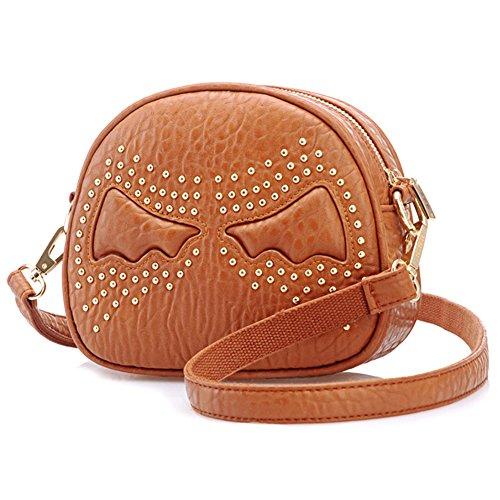 GSPStyle Damen Schultertasche Flügel Handtasche Reißverschluss Cross Body Tasche Umhängetaschen Farbe Braun