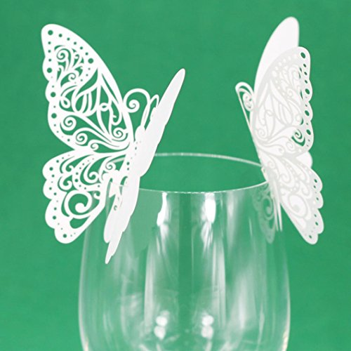 50 Pcs Butterfly Wine Glass Paper Place Cards White - 4