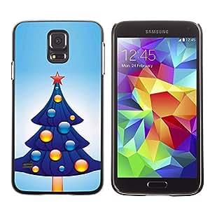 YOYO Slim PC / Aluminium Case Cover Armor Shell Portection //Christmas Holiday Blue Tree 1071 //Samsung Galaxy S5
