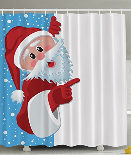 Ambesonne Christmas Santa Claus Holiday Year Print Polyester Fabric Shower Curtain Blue White Red