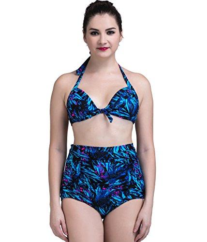 DATO Mujer Push-Up Bikini Retro Flores Traje de Baño Azul