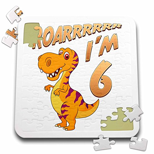 Carsten Reisinger - Illustrations - Birthday Dinosaur Roarrrrrr I am 6 Years Old Congratulations Party - 10x10 Inch Puzzle (pzl_261524_2) by 3dRose