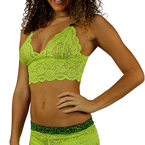 Green Neon Leopard (Foxers Neon Green Cropped Lace Top with Leopard Print Straps)