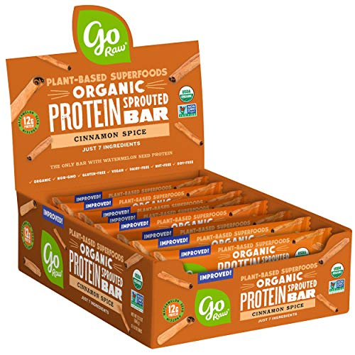 Go Raw Superfood Protein Bars, Gluten Free Energy Bar, Cinnamon Spice, Case of 12 Bars | Vegan | Natural | Organic (Packaging May Vary)
