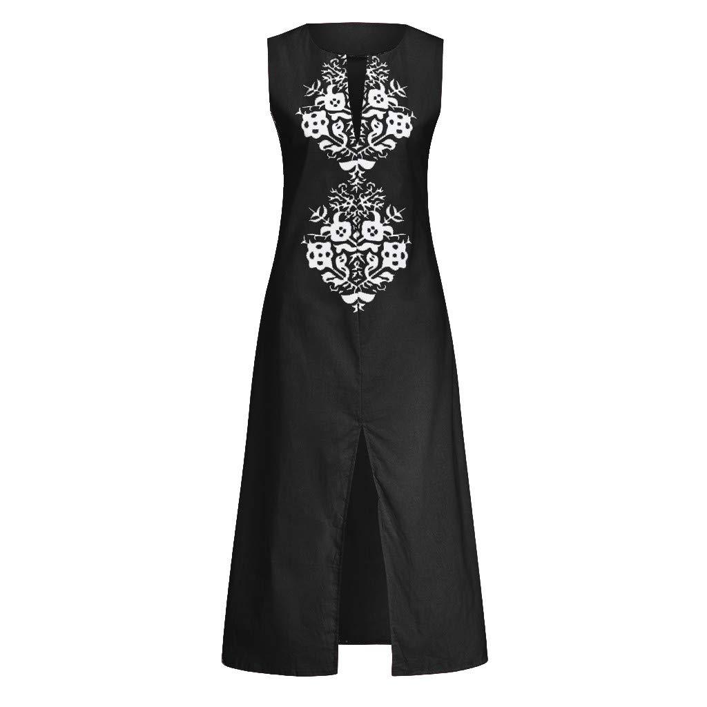 Sharemen Women'S Printed Sleeveless O-Neck Maxi Dress Split Hem Baggy Kaftan Long Dress(Black,L)