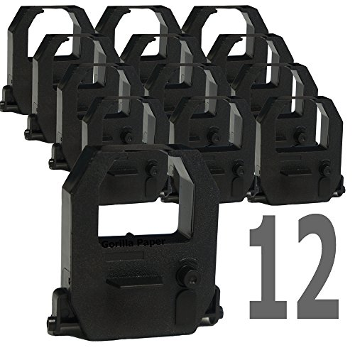 - 12-Pack Gorilla Supply Compatible Time Clock Ink Ribbons for Amano Pyramid-6400 TCX-10 TCX-11, Black