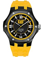 CAT WATCHES Mens A116127127 Navigo Date Black and Yellow Analog Dial Black Rubber Strap Watch