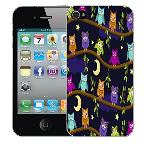 Mobile Case Mate iPhone 4 Silicone Coque couverture case cover Pare-chocs + STYLET - Moon Owls pattern (SILICON)