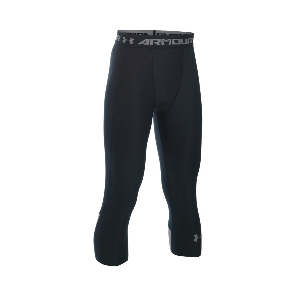 Under Armour Boys' HeatGear Armour Up Fadeaway Fitted ¾ Leggings, Black /Graphite, Youth Large by Under Armour (Image #1)