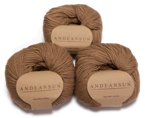 - 100% Baby Alpaca Yarn Skeins - Set of 3 (Light Camel) - AndeanSun - Luxuriously Soft for Knitting, Crocheting - Great for Baby Garments, Scarves, Hats, and Craft Projects - Light Camel