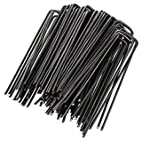 GardenMate Pack of 100 x 6''/150mm U-shaped multi-purpose steel Garden Securing Pegs - Ideal for securing weed fabric, landscape fabric, netting - Made of 2.9mm thick carbon steel wire