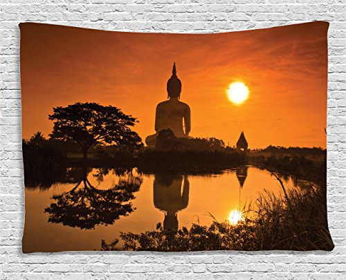 Orange Tapestry Asian Decor by Ambesonne, Big Giant Statue by the River at Sunset Thai Asian Culture Scene Yin Yang Print, Bedroom Living Room Dorm Wall Hanging Art, 60 W X 40 L Inches, Burnt Orange (Asian Bedroom Bedroom Set)