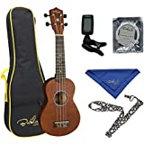 Bailando 21 Inch Handmade Wooden Soprano Ukulele Beginner Kit, Brown