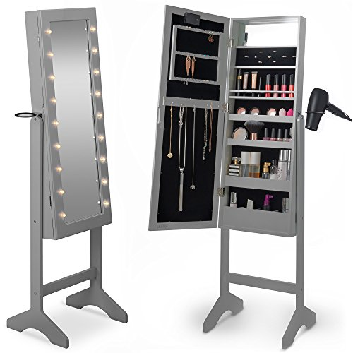 Beautify Mirrored Jewelry Makeup Armoire with LED Lights Floor Standing Organizer Cabinet with Internal and External Mirror Gray