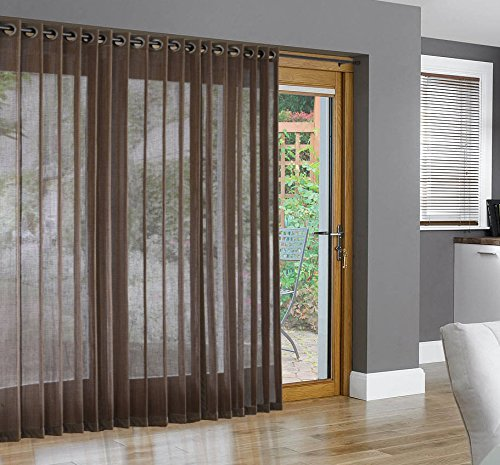 Bamboo Grommet Top Panels for Sliding Glass Doors and Large Windows Pecan 48x84