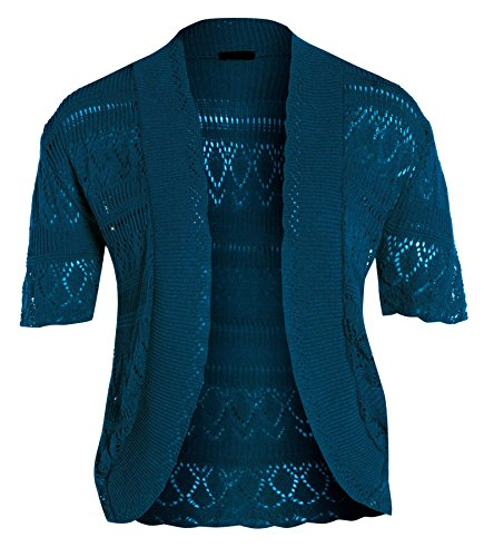 neuen Frauen Crochet Knit Cardigans Fischnetz Bolero Top 44-54 Cyan KoHzo2X