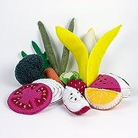Felt Fruits and Veggies, Banana, Broccoli, Apple, Carrot, Green Beans, Kiwi, Onion, Orange, Strawberry, Watermelon - Washable, Won't Fade, Made from Recycled Plastic