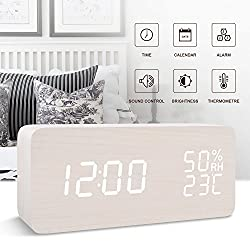 FiBiSonic wooden digital LED voice/touch control desk silent modern alarm clock with Thermometer and hygrometer, best gifts for friends/families
