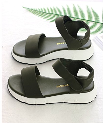 Sandalias Zapatos palabra Nueva Sandalias Open Plataforma Lin verde Casual oscuro Velcro Xing Tela Señoras Comfort Toe Verano Eqwgfc6FR