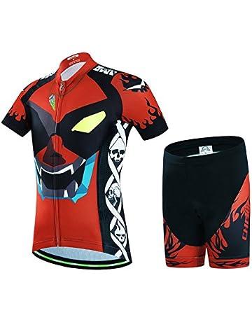 Wulide Niños – Rueda equipación de Bicicleta Camiseta Manga Corta +  Pantalones con Asiento Acolchado 8427b6cadf2ad