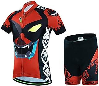 Wulide -  Set da ciclismo per bambino, con maglietta a manica corta e pantaloncini con seduta imbottita.