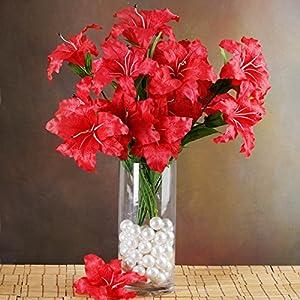 BalsaCircle 54 Silk Extra Large Lilies - 6 Bushes - Artificial Flowers Wedding Party Centerpieces Arrangements Bouquets Supplies 9