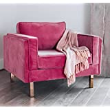 EDLOE FINCH Lovette Pink Accent Chair - Modern Velvet Accent Chair for Living Room