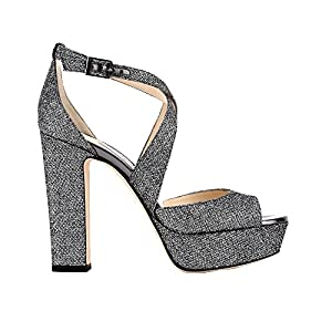 Jimmy Choo Women's APRIL120LAGANTRACITE Silver Other Materials Sandals