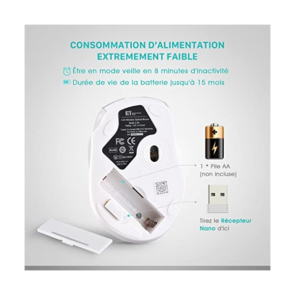 VicTsing Souris sans Fil 2.4G, 2400 CPI Souris Optique Mobile avec Récepteur Nano USB 6 Boutons 2400 DPI (5 Niveaux…