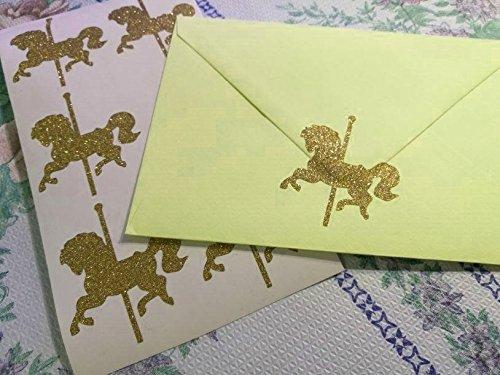 20 Glitter carousel horse Stickers Envelope Seals Princess Party Décor Envelope Seals Wedding Invitations Birthday Gold or Silver Vinyl Craft DIY (Wedding Invitations Horse)