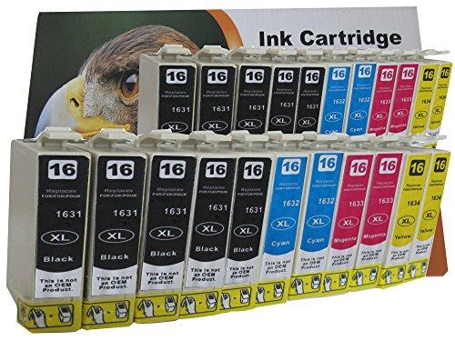 20 XL Druckerpatronen komp. zu Epson WorkForce WF 2010 2510 2520 2530 2540 2630 2650 2660 W WF DWF Sie bekommen 8 x Schwarz 4 x Blau 4 x Rot 4 x Gelb kompatibel zu T1636 T1631 T1632 T1633 T1634